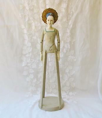 Vintage Style Beautiful Santos Angel Mirrored Halo 25 inches Wood Cage Doll