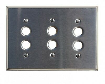 Switch Plate Satin Stainlees Steel 3 Push Button | Renovator's Supply