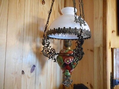 Beautiful  Antique Majolica Hanging Chandelier Kerosene Oil Light Lamp Amazing!