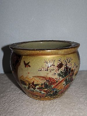 Beautiful Vintage Made In China Satsuma Floral Bird Scenery Vase Bowl
