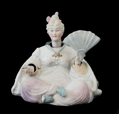 Continental Bisque Porcelain Female Head and hands Nodder, Asian style figure