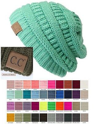 Women Authentic CC Beanie Thick Slouchy Knit Cap Hat C.C Beanie Solid  Flecked d6836be74470