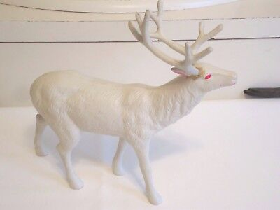 Repaired VTG JUMBO WHITE CELLULOID DEER 11 x 11 Inch OCCUPIED JAPAN Repaired
