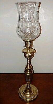 BRASS CANDLE HOLDER w Glass Globe Height 16 inches. Heavy