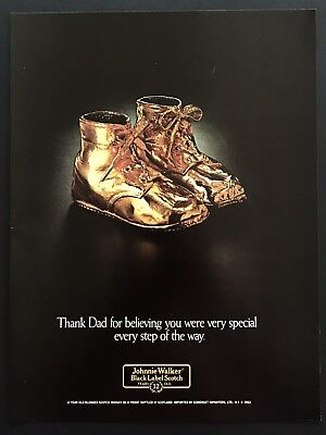 1982 Vintage Print Ad JOHNNIE WALKER Black Label Scotch Golden Shoes
