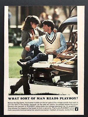 1982 Vintage Print Ad WHAT SORT OF MAN READS PLAYBOY Car Auto Picnic Date