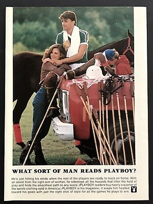 1982 Vintage Print Ad WHAT SORT OF MAN READS PLAYBOY Polo Horse Sport
