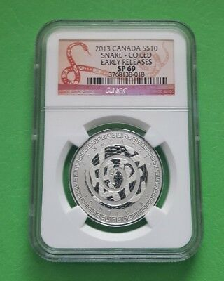 2013 CANADA $10 (Lunar Year of the Snake) 1/2 Oz .9999 Silver Coin NGC SP69 ER