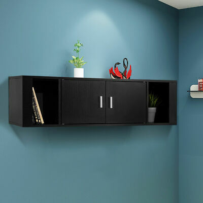 2 Cube Wall Mounted Floating Hutch 2 Door Media Storage Cabinet Desk Black NEW