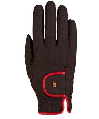 (7.5, black-red) - Roeckl - ladies contrast riding gloves LONA