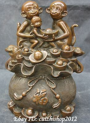"13"" Decoration Chinese Folk Home Copper 12-Zodiac Year Monkey Moneybag Statue"