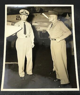 Vintage US Army General Bruce Palmer Jr Onboard USS Saratoga Photo - 8 X 10