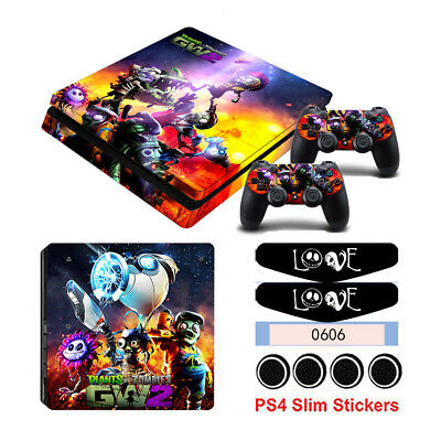 Skin Sticker For Sony PS4 Slim Console&Cap With Light Plants vs Zombies