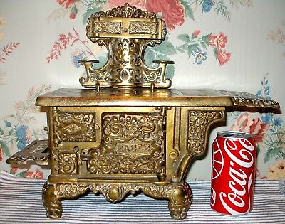 Original c.1900 EAGLE Cast Iron Toy Stove, Hubley, Rare BRASS-Plated Antique!