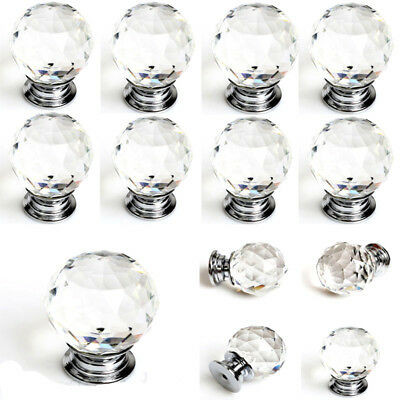 10pcs 30mm Diamond Shape Crystal Glass Knob Cabinet Cupboard Drawer Pull Handle