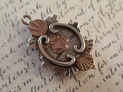ANTIQUE VICTORIAN Aesthetic Movement STERLING SILVER ROSE GOLD CHARM Love Token