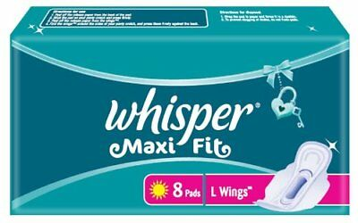 Whisper Maxi Fit L Wings  (8 Pads)  | Free Shipping