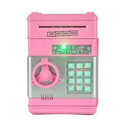 Electronic Mini Pink ATM Coin Cash counter saving piggy bank Password Box DT