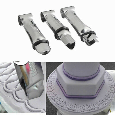 New 3pcs Stainless Steel Cake Lace Clip Clamp Crimper Cutters Mold Fondant Mould