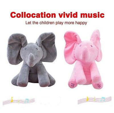 Peek-a-Boo Animated Talking and Singing Elephant Stuffed Animals Play Music TOP