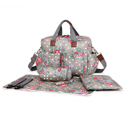4pcs Gray Flower Dot Mummy Maternity Baby Nappy Diaper Changing Bag Wipe Clean