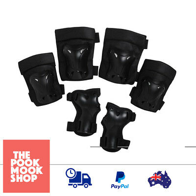 Youth Protective Set (Wrist, Knee, Elbow) Safety Guard Black, Sports, Pads, Gear