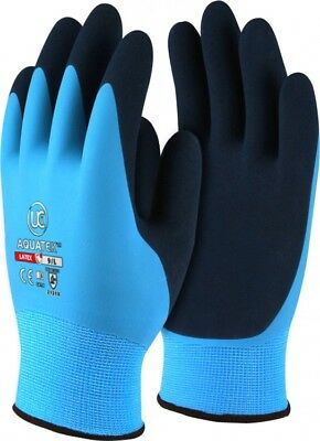 UCI AQUATEK Latex Waterproof Fully Coated Grip Work Gloves Blue