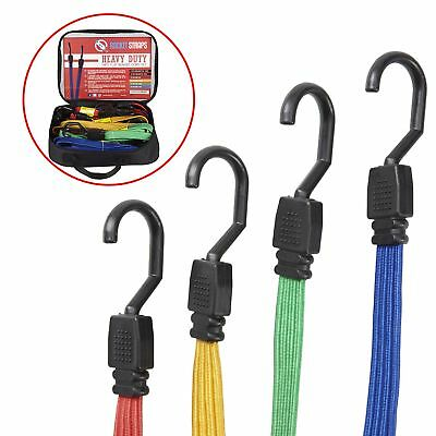ROCKET STRAPS | Flat 24PC Extreme Heavy Duty Flat Bungee Cord Set with Steel