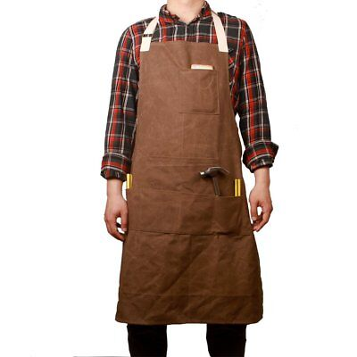 Waxed Canvas Heavy Duty Workshop Apron Utility Tool Aprons Multi-function