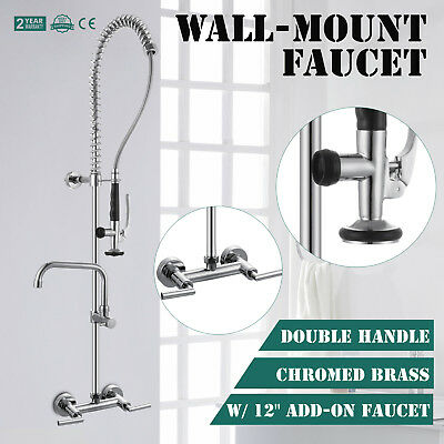 """Commercial Kitchen Restaurant Pre-Rinse Faucet w/ 12"""" Add-On Faucet"""