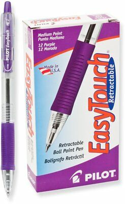 Pilot Easytouch Retractable Ball Point Pens, Medium Point, Purple Ink, Dozen Box
