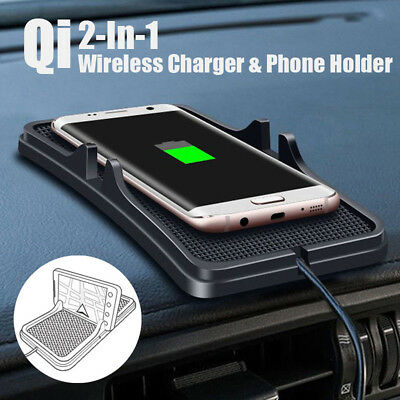 Qi Wireless Charger Car Holder Mount Non-Slip Pad Mat For Samsung S8 Iphone X/8