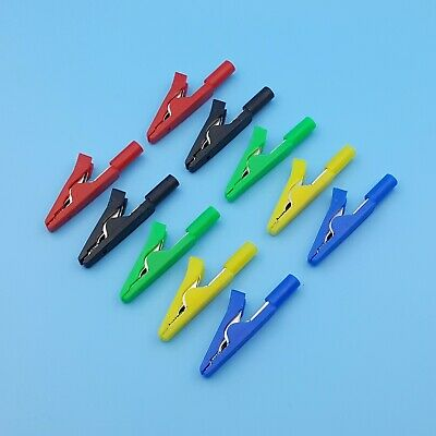 10Pcs Insulated 5 Color Mini Test Alligator Clip Probe To 2mm Banana Female Jack