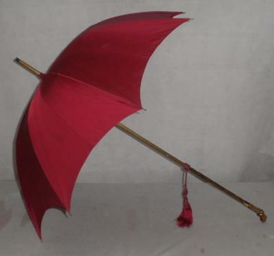 *Beautiful Plumb Purple Canopy Umbrella- With Carved Lady Handle*