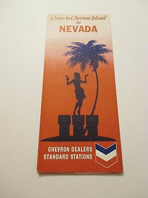 Vintage 1969 CHEVRON Nevada State Oil Gas Service Station Road Map