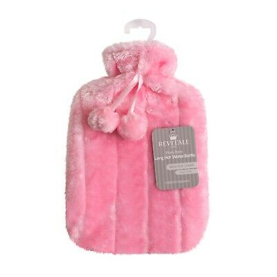 Luxury Cosy Faux Fur & Pom Pom Cover + Hot Water Bottle 2 Litre (Baby Pink)