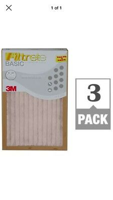 3M Filtrete Basic White Pleated Air Furnace Filter -3Pack  (9 Months Supplies)