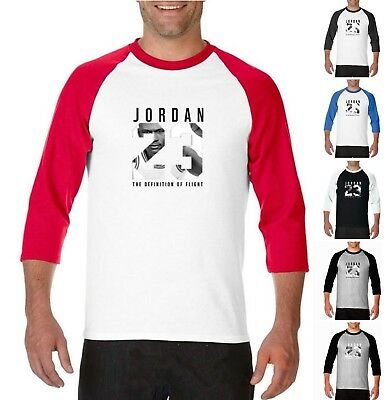 dff442bd8d71e3 NEW Michael Air Legend 23 Jordan 3 4 Baseball T-Shirt Mens Jersey Raglan
