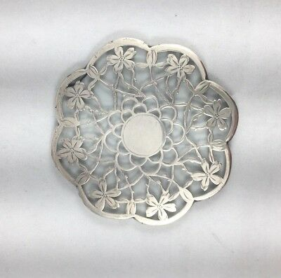 """Beautiful Sterling Silver Overlay Scalloped Floral 4"""" Coaster/Trivet"""