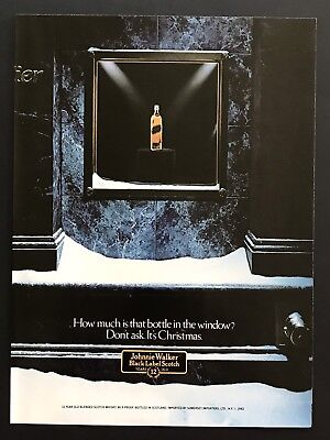 1982 Vintage Print Ad JOHNNIE WALKER Black Label Scotch Window Display Christmas