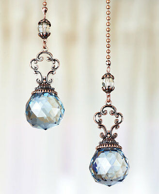 Vintage Antique Ceiling Fan Pulls Set of 2 Prism Crystals Blue Clear Lamp Chains