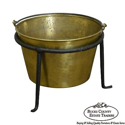Antique Hammered Brass Kindling Bucket w/ Iron Stand