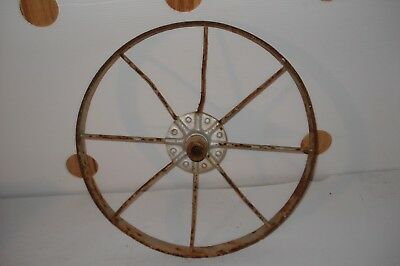 Vintage Metal Wheel Barrow Wagon Wheel Rustic Primitive Garden Art 15 1/2""