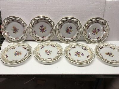 "8 BAVARIA Dresden Flower Plates 8 1/2"" across  Germany"