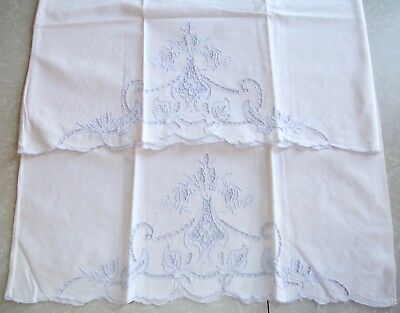 """2 Vintage Embroidered Linen Pillowcases Blue White Madeira Cutwork Floral 32""""x20"""