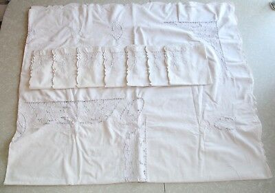 "Vintage Embroidered Linen Tablecloth Madeira Cutwork 67"" x 80"" & 7 Napkins Recta"