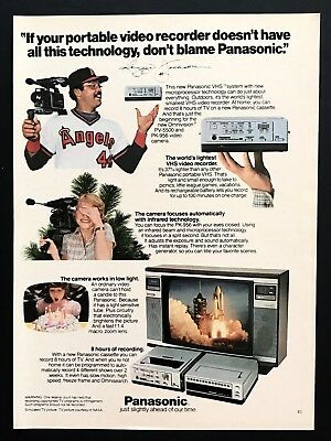 1982 Vintage Print Ad PANASONIC VHS Video Recorder Reggie Jackson Baseball Star