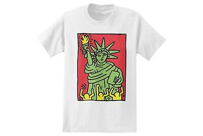 Keith Haring STATUE OF LIBERTY Pop Art T-Shirt NWT 100% Authentic Rare Tee S-2XL