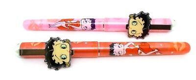 Betty Boop Pen Set 2 Pc Ball Point Black Ink Birthday Gift Big Face Pink & Red