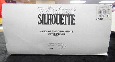Department 56 Winter Silhouette Hanging The Ornaments White Porcelain Set 7793-3